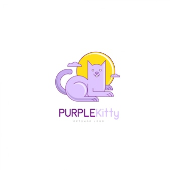 Vettore di logo moderno gatto creativo in stile cartone animato per pet shop company