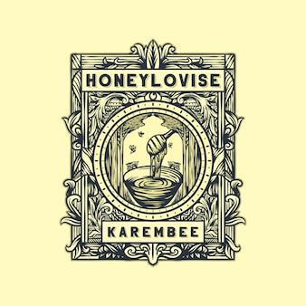 Vettore di logo vintage miele