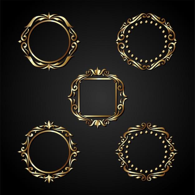 Vettore di lusso del telaio del cerchio dell'oro