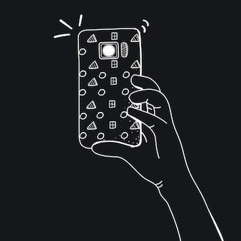 Vettore di mani prendendo foto con smartphone