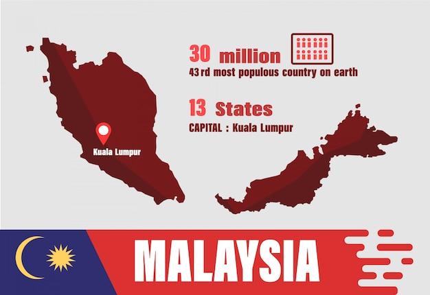 Vettore di mappa della malesia. numero di popolazione e geografia mondiale
