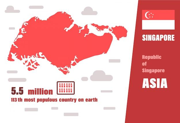 Vettore di mappa di singapore. numero di popolazione e geografia mondiale