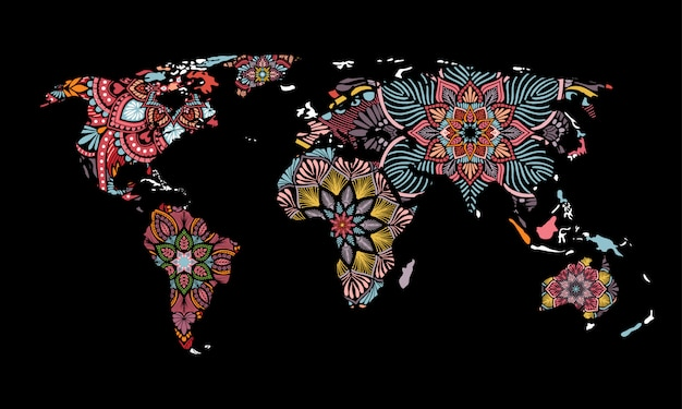 Vettore di mappa mondo mandalas