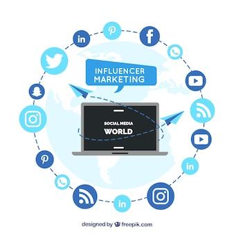 Vettore di marketing influenzatore circolare