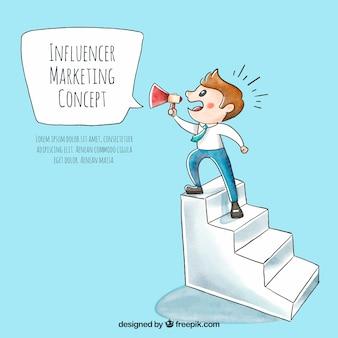 Vettore di marketing influenzatore con l'uomo sulle scale