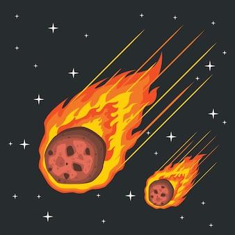 Vettore di meteore che cade nel fuoco