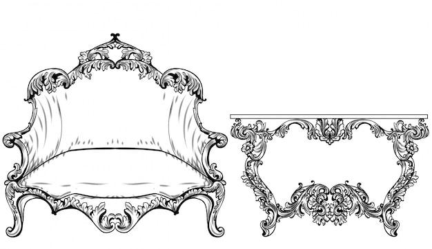 Vettore di mobili barocco rococò. ricco ornamenti di rosa imperiale. decori vittoriani reali