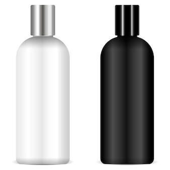 Vettore di mockup di bottiglie in bianco e nero di shampoo