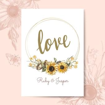 Vettore di mockup di carta di amore floreale