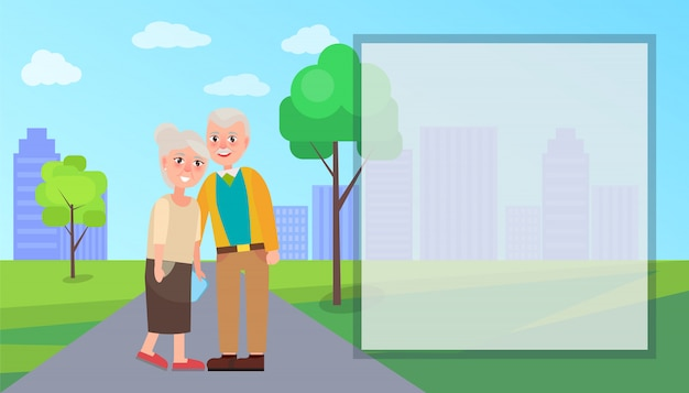Vettore di nonna e nonna nel parco cittadino