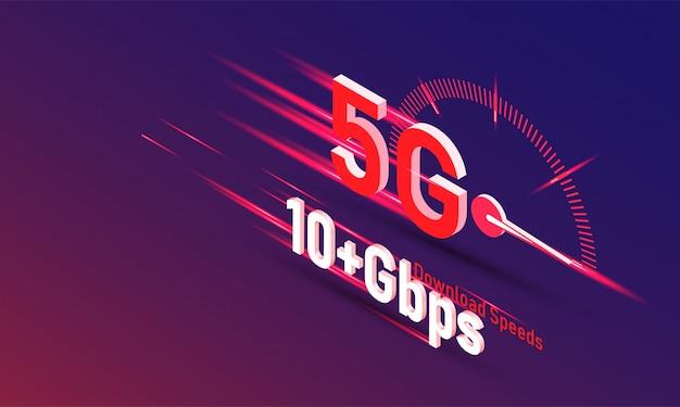 Vettore di nuova 5a generazione del concetto di internet, velocità della rete internet wireless 5g.