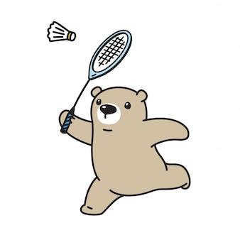 Vettore di orso polare cartone animato di badminton