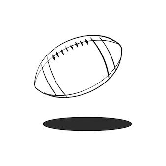 Vettore di palla di rugby di doodle
