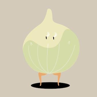 Vettore di personaggio dei cartoni animati di cipolla biologica