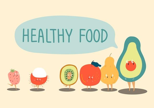 Vettore di personaggio dei cartoni animati di frutti sani