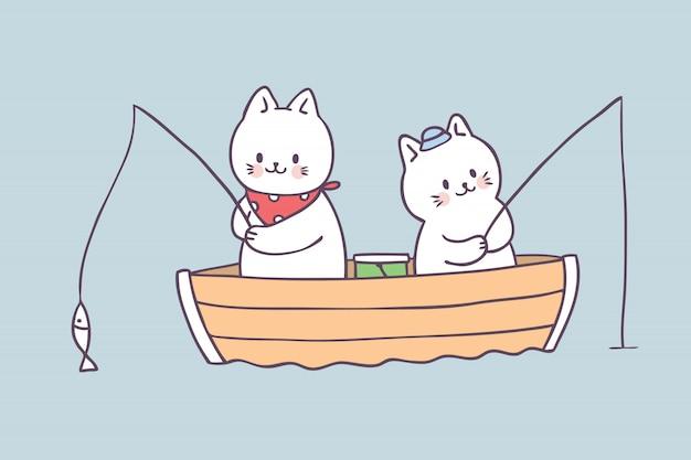 Vettore di pesca del gatto di estate simpatico cartone animato.