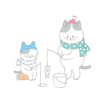 Vettore di pesca del gatto di famiglia sveglio del fumetto.