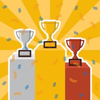 Vettore di podio e trofeo dei vincitori