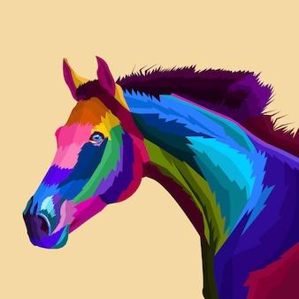 Vettore di pop art cavallo colorato