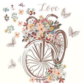 Vettore di primavera bicicletta disegnata a mano falso carino