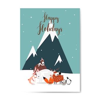 Vettore di progettazione cartolina a tema invernale