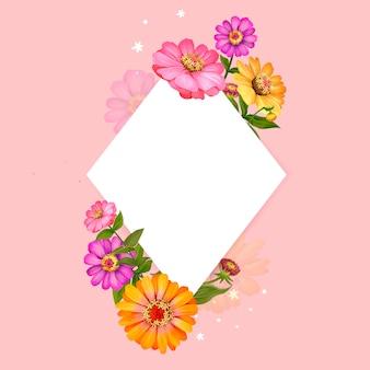 Vettore di progettazione cornice floreale bianco