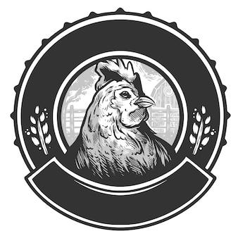 Vettore di progettazione d'annata di logo della gallina del pollo