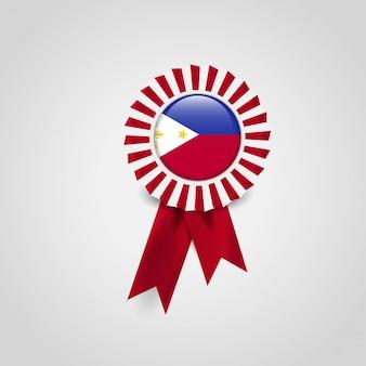 Vettore di progettazione del distintivo della bandiera di filippine