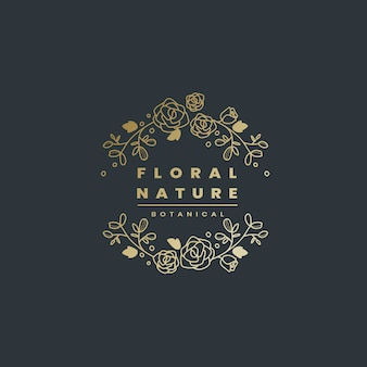 Vettore di progettazione del distintivo di natura floreale