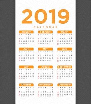 Vettore di progettazione del modello del calendario del nuovo anno 2018