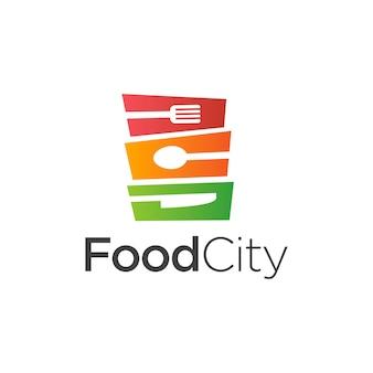 Vettore di progettazione del modello di logo della città dell'alimento