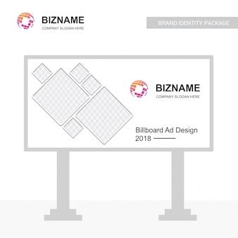 Vettore di progettazione del tabellone per le affissioni dell'azienda con il logo della mappa di mondo