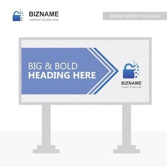 Vettore di progettazione del tabellone per le affissioni dell'azienda con il logo della serratura