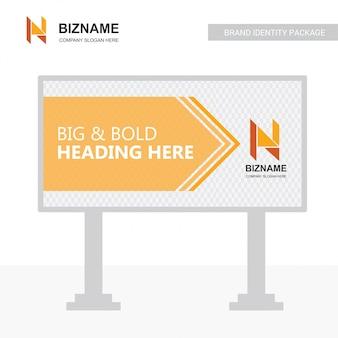 Vettore di progettazione del tabellone per le affissioni dell'azienda con il logo di n