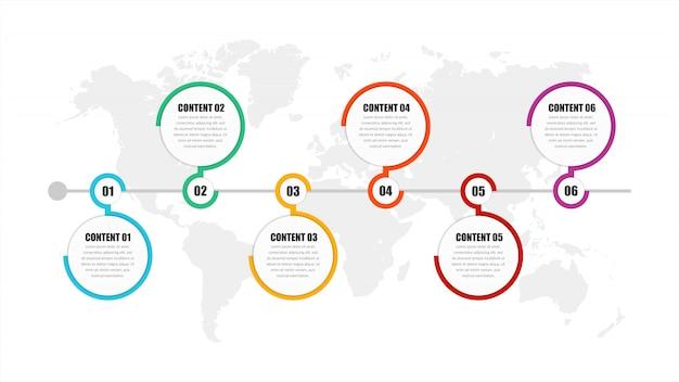 Vettore di progettazione dell'elemento di infographic di cronologia di sei punti