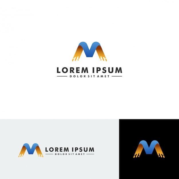 Vettore di progettazione dell'icona di tecnologia di logo della lettera m