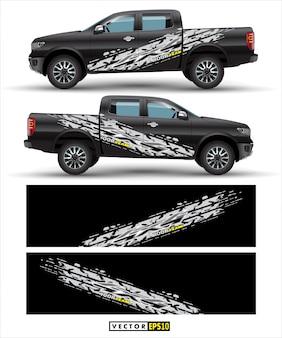Vettore di progettazione dell'involucro della decalcomania del camion.
