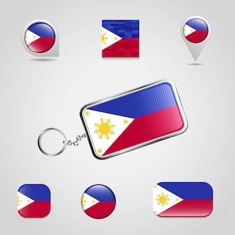 Vettore di progettazione della bandiera delle filippine