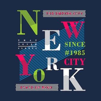 Vettore di progettazione della maglietta grafica colorato di new york