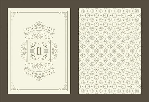 Vettore di progettazione della struttura di turbinii e vignette decorati calligrafici della cartolina d'auguri d'annata dell'ornamento