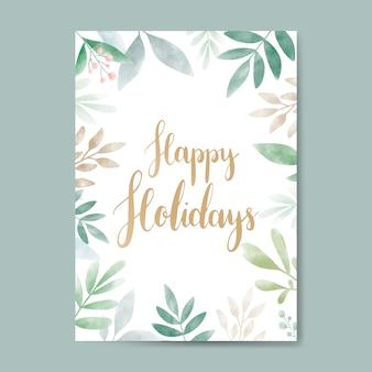Vettore di progettazione di carta dell'acquerello di buone feste