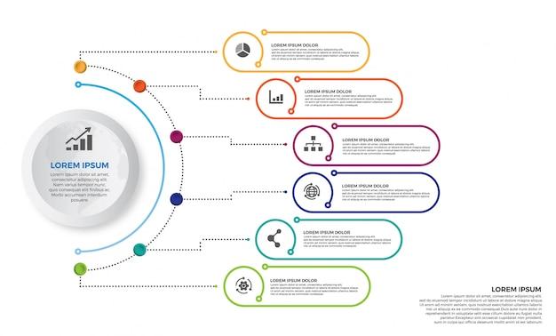 Vettore di progettazione di infographics colorato timeline