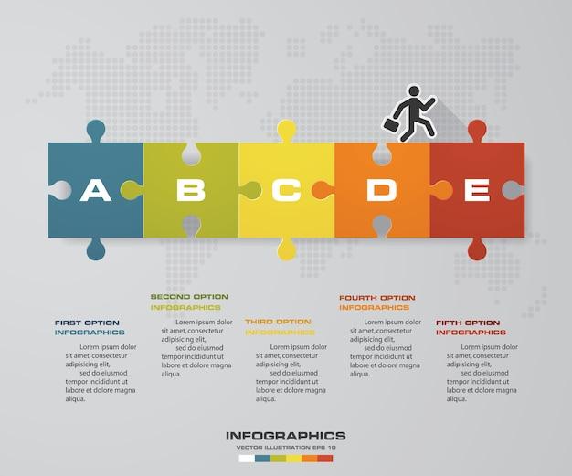 Vettore di progettazione di infographics con un puzzle di 5 opzioni.