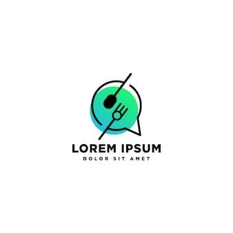 Vettore di progettazione di logo del cuoco unico dell'alimento