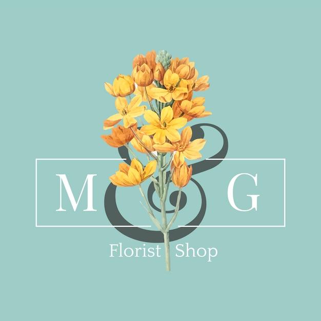 Vettore di progettazione di logo del negozio di fiorista