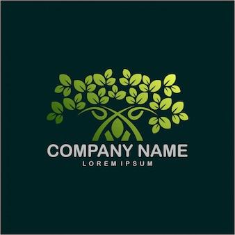 Vettore di progettazione di logo dell'albero.