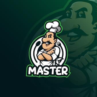 Vettore di progettazione di logo della mascotte del cuoco unico con l'illustrazione moderna