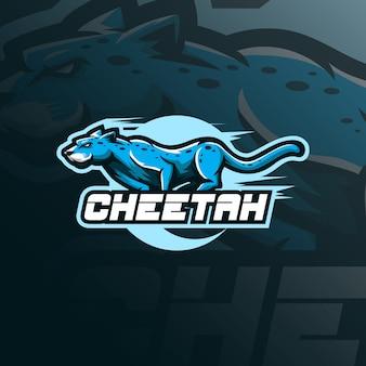 Vettore di progettazione di logo della mascotte del ghepardo con stile moderno di concetto dell'illustrazione per stampa del distintivo, dell'emblema e della maglietta.