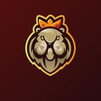 Vettore di progettazione di logo della mascotte del leone con stile moderno di concetto dell'illustrazione per stampa del distintivo, dell'emblema e della maglietta