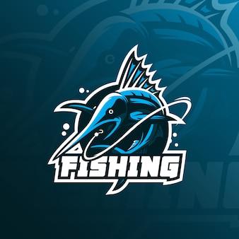 Vettore di progettazione di logo della mascotte del pesce marlin con stile moderno di concetto dell'illustrazione per stampa del distintivo, dell'emblema e della maglietta.